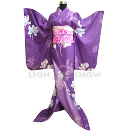 Discount japanese cosplay outfits Women Japanese Kimono Traditional Floral Furisode Long Kimono Cosplay Dress Costume outfit