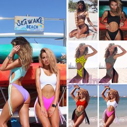 a3d6fb1e499 Leopard Tassel Bikini One piece High Cut Swimsuit women Push up with Chest  Pad Sexy Hollow Out Bathing Suit ladies Ring Fringe Swimwear