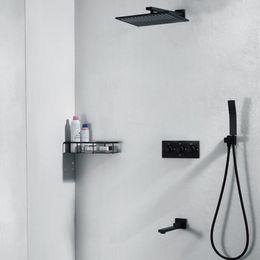 "Contemporary Metal Wall Australia - Wholesale And Retail Wall Mounted Brass Matt Black Color Rain Shower Faucet Set Vavle Mixer Tap Tub Spout W  Hand Shower Sprayer 10"""
