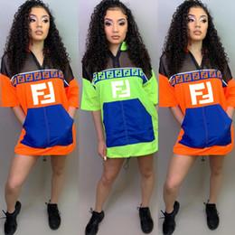 Letter Blocks Australia - 2019 4a6172 2019 Women's Clothes Block F Italy Letter Perspective Raincoat Cloth Zipper Pocket Dress