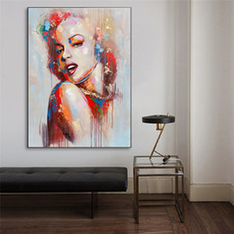 watercolor prints NZ - Marilyn Monroe Watercolor Portrait Art Canvas Painting HD Wall Picture Poster And Print Decorative Home Decor