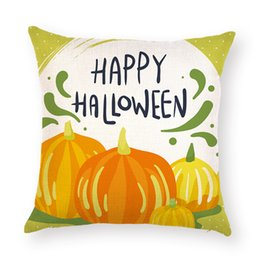 $enCountryForm.capitalKeyWord Australia - Happy Halloween Ghost Throw Pillow Case Pillowslip Cotton Linen Square Waist Cushion Cover Home Sofa Decoration Pillow Cover