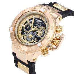 5343ef4952b INVICTA relógios grande mostrador do relógio para homens marca de luxo AAA  qualidade relógio de quartzo Tudo funcional pequeno mostrador funciona  Cronógrafo ...