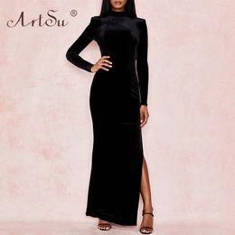 Ladies Long veLvet dress online shopping - ArtSu Round Neck Women Backless Long Sleeve Sexy Maxi Dress Side Split Maxi Party Dress Ladies Black Winter Velvet Dresses