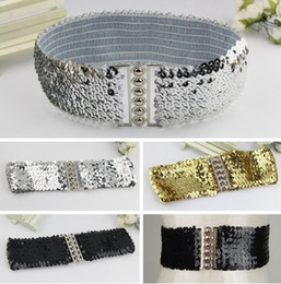 wide waist belts Australia - Fashion Bling Belts For Women Sequins Elastic Stretch Wide Waist Belt Waistband Casual Ceinture Femme