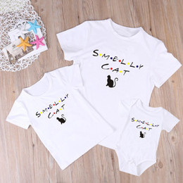 $enCountryForm.capitalKeyWord UK - Family Matching Outfits Mommy Daddy Kid Son Baby Romper T-Shirt Shirts Family Clothes Child T-Shirt Cotton Cute Cat Print Tops