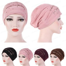 hot spring covers Australia - Indian Women Lace Muslim Ruffle Cancer Chemo Hat Beanie Scarf Turban Head Wrap Cap Hat Skullies Cover Elastic Hot Drilling New