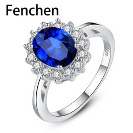 Diana jewelry online shopping - Fenchen New Gemston Fine Jewelry Princess Diana William Kate Created Sapphire Wedding Engagement Silver Ring for Women AR002