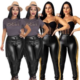 wholesale women full bodysuits UK - Women PU pants & Capris leggings tassel button bodysuits trousers stretchy full-length fall winter clothing fashion sexy club hot sell 1754