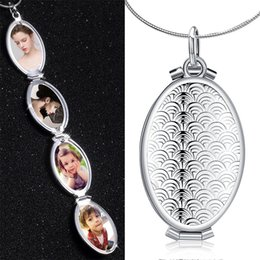 $enCountryForm.capitalKeyWord Australia - Necklace Women 2019 Necklace women Fish Scale Oval Locket 4 Slot Photo Frame Pendant Jewelry Gift Solid