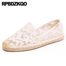 $enCountryForm.capitalKeyWord UK - Espadrilles Casual Round Toe 2019 Ladies Beautiful Flats Shoes Fisherman China White Sandals Slip On Breathable Mesh Lace Wholesale