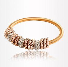 Shambala Crystals Australia - Elastic Crystal Bracelet Imitated Diamond Shambala Hoop Gold Bracelet Bangle Cuff Jewelry Drop Shipping Factory Price