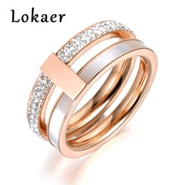 titanium tension set engagement rings Canada - Lokaer Rose Gold Color 2 Layers Rhinestone & Shell Wedding Rings Jewelry 316L Stainless Steel Engagement Ring Drop shipping