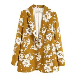 flowers printed ladies suits UK - Europe America Women's Suit Blazer 2020 Spring Autumn Ladies Suit Flowers Single-breasted Casual Jacket Fashion Office Clothing