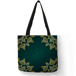 f2ce7571f8 Dark Green Blue Colored Tote Bags For Women Ladies Practical Shopping  Travel Beach Handbag Complicated Floral Pattern Cloth Bag