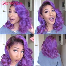 Purple Lace Front Human Hair Australia - Purple Wig Fashion Cut Bob Lace Wig Colored Lace Front Human Hair Wigs Short Bob Wigs For Women