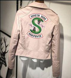 Wholesale thin vintage print jacket women for sale – winter Womens PU Faux Leather Jacket Riverdale Printed Winter Female Casual Thin Jacket Windbreaker Outerwear Vintage Coats