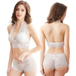 c549f0ab2975 Hot Lace Sexy Wire Free Halter Bra Set Push Up Bralette Lingerie Women 2  piece Underwear Set Solid Color Bras and Panties