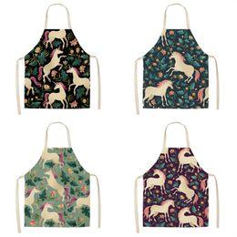 venda por atacado Unicorn Feminino mangas dos desenhos animados Avental de algodão e cânhamo Pinafore Floral Prints Aventais Para Casa Cozinha Popular criativa J1 7 5my