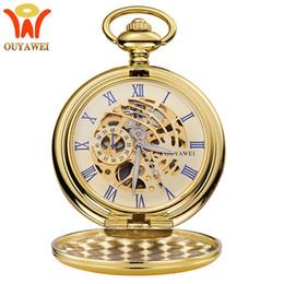 $enCountryForm.capitalKeyWord Australia - Luxury Gold Double Hunter Pocket Watches OUYAWEI Brand Mechanical Hand Wind Skeleton Chain Watches Men Women Gift Relogio 2019