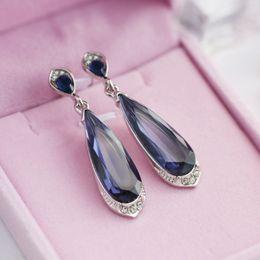 $enCountryForm.capitalKeyWord NZ - Hot Sale Creative Blue Zircon Crystal Women Dangle Earrings Vintage Micro Inlay Rhinestone Long Earrings Party Jewelry Brincos