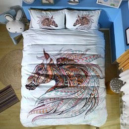 horse duvet covers NZ - 3D Horse Bedding Set Duvet Cover Set Bedspreads US UK King Queen Size Twin For Kids Hand Drawn Patterned Horse