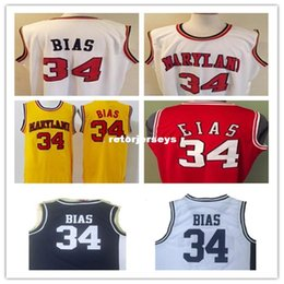 $enCountryForm.capitalKeyWord Australia - Cheap #34 LEN BIAS 1985 MARYLAND TERPS BASKETBALL JERSEY white,yellow,Stitched Rev30 Jersey, custom any name,number and sizes