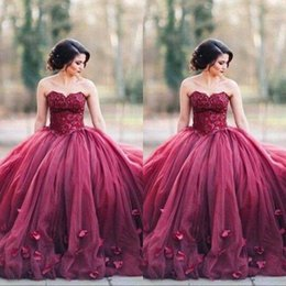 Prom dress sexy lace bodice online shopping - Burgundy Strapless Ball Gown Princess Quinceanera Prom Dresses Lace Bodice Basque Waist Backless Long Evening Gowns Custom