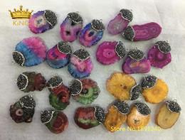 Color Stone Charms Australia - 5pcs Random Color Sale,Sun Flower Druzy Slice Slab Pendants Fine Jewelry,Solar Quartz Crystal with Rhinestones Caps Charms HSC09