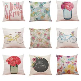 hello bedding Canada - Cushion Cover For Sofa Bed Car Home Decor Soft Hello Spring 45x45cm Throw Pillowcase Square Pillow Covers Pillowcover