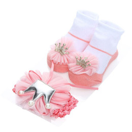 $enCountryForm.capitalKeyWord UK - newborn socks girl set baby socks party 1 year birthday newborn lace + headband 2pcs pack princess frilly baby lot