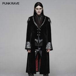 xl black flare dress 2019 - PUNK RAVE Men's Gothic Fall Winter Twill Weft Velvet Jacquard Stitching Long Dress Jacket Evening Party Club Trench