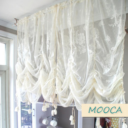 ivory lace tops UK - ivory white ruffled lace curtain pull up decoration curtain for window vintage