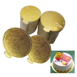 Cupcakes Desserts NZ - 200pcs Round Mousse Cake Board Gold Paper Cupcake Dessert Displays Tray Wedding Birthday Cake Pastry Decorative Tools 9cm