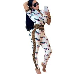 2019 Tuta Donna Set Lettera Stampa Sexy 2 Pezzi Set Per Le Donne Skinny Tuta Sportiva Abbigliamento Casual Donna Abiti S-xxxl Y19042901 in Offerta
