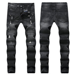 Wholesale punk style jeans for sale - Group buy Spring fashion style men s cowboy Pant Street Punk Men s Denim Pants casual straight motorcycle jeans high quality Trousers