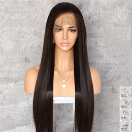 $enCountryForm.capitalKeyWord NZ - High Quality Soft Dark Brown Long Straight Wigs with Baby Hair Glueless Synthetic Lace Front Wigs For Black Women Heat Resistant Fiber