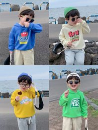 korean sweater pants Australia - Children's clothing children's cartoon version of the Korean version of the sweater in autumn 2019 new boys solid color hooded long-sleeved