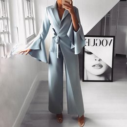 $enCountryForm.capitalKeyWord Australia - 2019 Autumn Women Fashion Elegant Long Sleeve Workwear Formal Party Romper Irregular Flared Sleeve Knot Side Wide Leg Jumpsuit MX190806