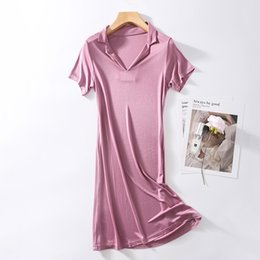 silk nightie Australia - Sleeping dress womens Sleepwear Nightgown Nightshirt Real silk Short Sleeve Nighties Loose Comfy M-XXL