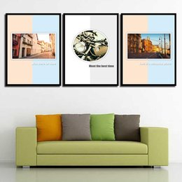 Art Canvas Prints Australia - Print Watercolor Abstract Nordic Building City Motorcycle Wall Art Poster Pictures Canvas Painting For Living Room Home Decor