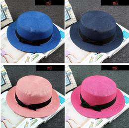 4d5b0d80b093e Man Women Straw Hat Summer Beach Hats Children And Adult Size Flat Top  Straw Hat Men Boater Hats Flat Bowler Hat 11 Colors