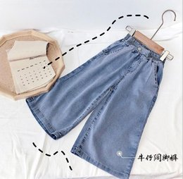 trend jeans Canada - 2020 best selling girls' jeans Capris Tencel cotton summer Korean new fashion children's loose Wide Leg Jeans trend