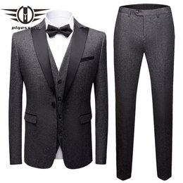 elegant tuxedos for men NZ - Brand Men Suit 2019 Elegant Wedding Suits For Men Slim Fit Gray Burgundy Suit Male 3 Pieces Mens Royal Blue Tuxedo Jacket Q507