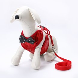Bow harness online shopping - Sequins Harnesses Bow Traction Rope Breathable Fashion Pet Dog Accessories Cloth Leashes Sell Well With Various Color pe J1