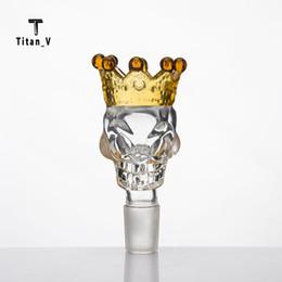 $enCountryForm.capitalKeyWord Canada - Skull Style Herb Holder Crown Glass Bowl Glass 14mm 18mm Male Slide Smoke Accessory Glass Bong Herb Grinder Quartz Banger Nails Cap 340