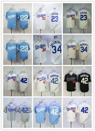 China Cheap DODGERS 22# KERSHAW 23#GIBSON 34# VALENZUELA 42# ROBINSO Cream White Grey Light Blue Black Baseball Jerseys Shirt Stitched Top Quality supplier jersey 42 baseball suppliers