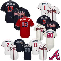 d9eebd40 Maillots de baseball pour hommes Atlanta 2019 Braves Jersey 13 Ronald Acuna  Jr. 5 Freddie Freeman 7 Dansby Swanson 1 Ozzie Albies Taille S-XXXL