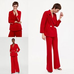 red mother bride suits Canada - 2019 Bright Red Mother Of The Bride Suits Two Pieces(Jacket+Pants) Long Sleeves Formal Work Suits