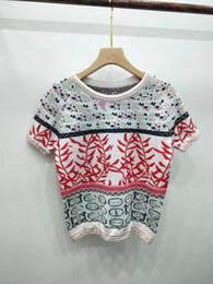 $enCountryForm.capitalKeyWord Australia - 2019 Summer Milan Runway T-Shirt O Neck Short Sleeve Women's T-Shirt High End Jacquard pullover Women Designer T-Shirt 062009